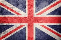 stor grunge för britain flagga Union Jack flagga med grungetextur Royaltyfria Bilder