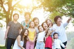 Stor grupp av den asiatiska mång- utvecklingsfamiljen som har utomhus- gyckel arkivbild