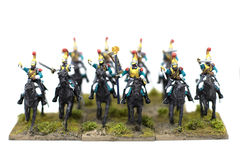 Stor grupp av fransk kavalleri Toy Soldiers Arkivfoton