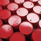 Stor grupp av röda olje- trummor Royaltyfri Foto