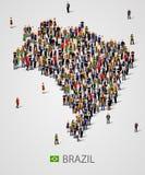 Stor grupp människor i form av den Brasilien översikten Bakgrund för presentation stock illustrationer