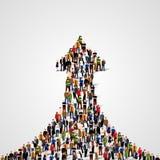 Stor grupp människor i formen av en tjäna pil framgång till långt äganderätt för home tangent för affärsidé som guld- ner skyen t vektor illustrationer