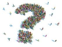 Stor grupp människor med frågor, tänkande begrepp Arkivbilder