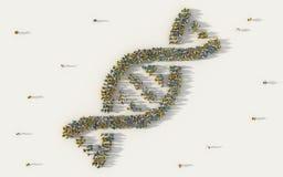 Stor grupp människor som bildar DNA, symbol för spiralmodellmedicin i socialt massmedia och gemenskapbegrepp på vit bakgrund teck royaltyfri illustrationer
