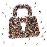 Stor grupp människor som söker säkerhet Arkivbild