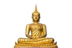 Stor guld- buddha staty på vit bakgrund Fotografering för Bildbyråer