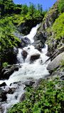 Stor härlig vattenfall på floden. Royaltyfri Foto