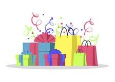 Stor hög av färgrika slågna in gåvaaskar Berggåvor och shoppingpåsar Symbol för gåvaask Gåvasymbol Jul stock illustrationer