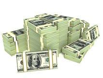 Stor hög av pengar. dollar över vit bakgrund Arkivfoto