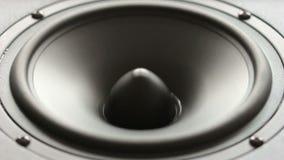 Stor högtalare som gör ett bas- prov i ultrarapid. stock video