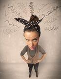 Stor head person med lockiga linjer Royaltyfri Foto