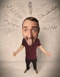 Stor head person med lockiga linjer Arkivbilder