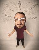 Stor head person med lockiga linjer Arkivbild