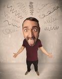 Stor head person med lockiga linjer Fotografering för Bildbyråer