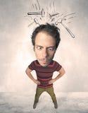 Stor head person med utdragna hammare Fotografering för Bildbyråer