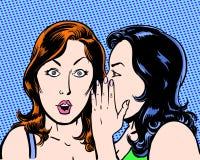 Stor hemlig komisk illustration för popkonst av två skönheter med blå bakgrund Arkivfoton