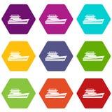 Stor hexahedron för färg för powerboatsymbolsuppsättning vektor illustrationer