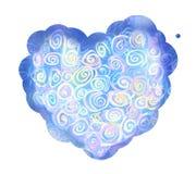 Stor hjärta som är uppdiktad av små kulöra spiral Arkivbild