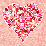 Stor hjärta som göras med massor av olika små hjärtor Arkivbilder