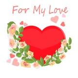 Stor hjärta som inramas av delikata kräm- rosor med ord för min förälskelse royaltyfri illustrationer