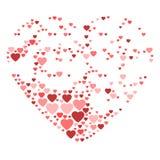 Stor hjärta som komponeras från små hjärtor Royaltyfria Foton
