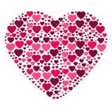 Stor hjärta som komponeras från små hjärtor Royaltyfria Bilder