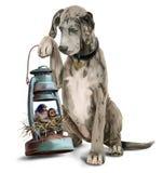 Stor hund och två fågelungar i redevattenfärgteckningen Arkivbilder