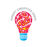 Stor idérik idé - vektorbegreppsillustration Lightbulben och skissar pilar Symbol för elektrisk lampa Kläckning av ideertecken Royaltyfria Bilder