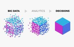 Stor illustration för begrepp för dataanalyticsalgoritm vektor illustrationer