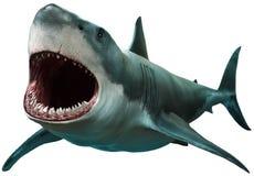Stor illustration för vit haj 3D Royaltyfria Bilder