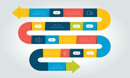 Stor infographic ormpil, mall, diagram, diagram, timeline stock illustrationer