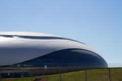 Stor isarena under konstruktion i Sochi Arkivbilder