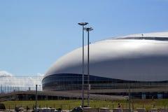 Stor isarena under konstruktion i Sochi Royaltyfri Bild