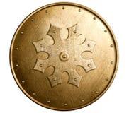 Stor isolerad illustration 3d för bronsmetall sköld royaltyfri illustrationer