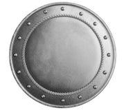Stor isolerad illustration 3d för metallrunda sköld royaltyfri illustrationer