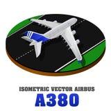 A380 stor isometrisk illustration för passagerareflygplan 3d Plan högkvalitativ transport Medel planlade att bära nummer av PA Arkivbild