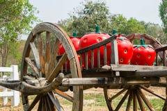 Stor jordgubbe på trävagnen Arkivfoton