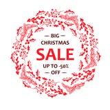 Stor julförsäljning för röd krans, upp -50% av beståndsdel för design för typografibaner blom- gullig royaltyfri illustrationer