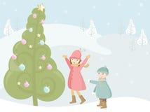 stor jultree Fotografering för Bildbyråer