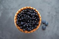 Stor kaka-korg med blåbär på den gråa metallyttersidan VI Fotografering för Bildbyråer