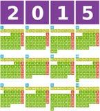 Stor kalender 2015 i plan design med enkla fyrkantiga symboler Arkivbilder