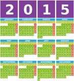 Stor kalender 2015 i plan design med enkla fyrkantiga symboler Royaltyfri Foto