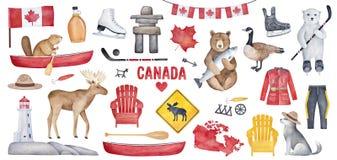 Stor Kanada uppsättning med olika symboler som nationsflaggan, flaska för lönnsirap, fyr, hockeyskridskor royaltyfri illustrationer