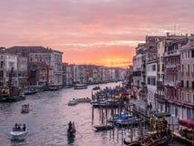 Stor kanal, Venedig på solnedgången Arkivfoton