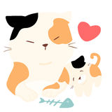 Stor katt för liten fluffig kattförälskelse Royaltyfria Foton