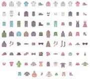 Stor kläderuppsättning Arkivfoton