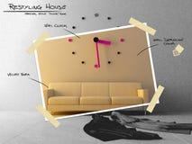 Stor klocka på sofaen för restyling projektplan Royaltyfri Foto