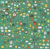 Stor klottrad rengöringsduk- och mobilsymbolssamling Arkivbilder