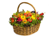 Stor korg mycket av grönsaker Royaltyfri Bild