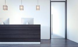 Stor korridor med det svarta kontorsmottagandet, tolkning 3d Royaltyfri Foto